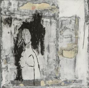 Les amants, techniques mixtes sur toile, 15 x 15 cm