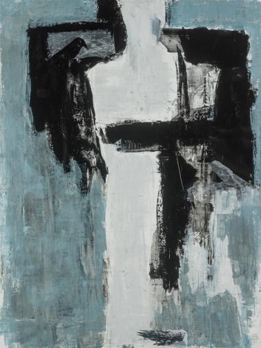Être sans devenir (l'habitude d'être aimée, techniques mixtes sur toile, 122 x 92 cm