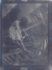 La mécanique du secret, cyanotype et gomme bichromatée sur papier coton