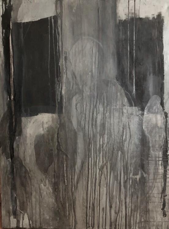 La souffrance spéciale de l'homme, techniques mixtes sur toile, 102 x 76 cm